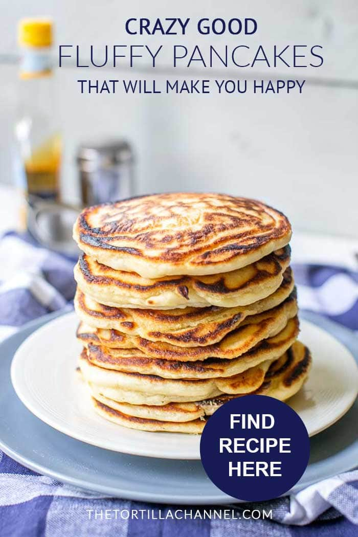 Super easy fluffy pancakes from scratch done in 20 minutes. Great for breakfast, lunch or dinner. Want to make this recipe visit thetortillachannel.com #fluffypancake #easypancakerecipe #thefluffiestpancake