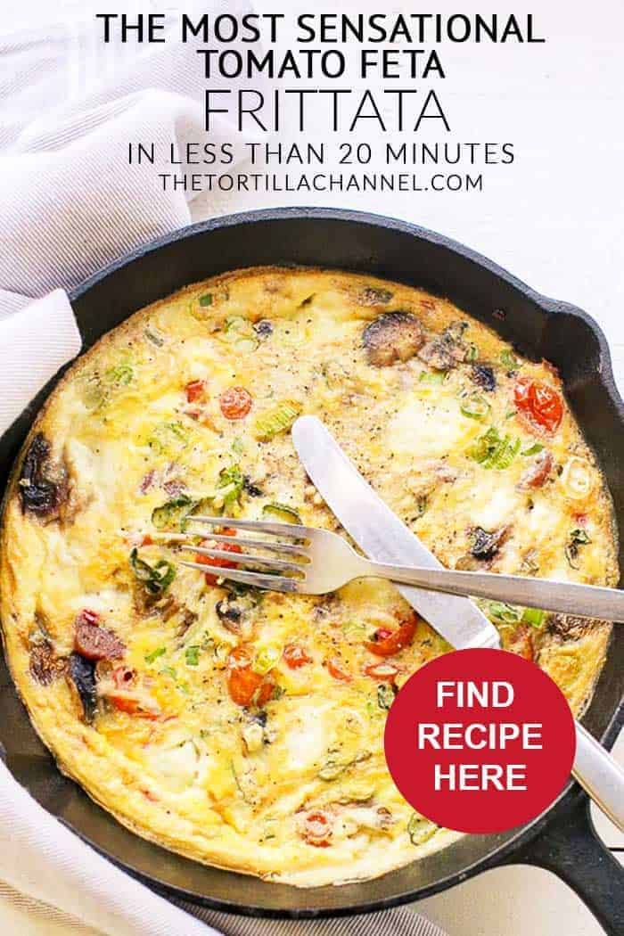 Cast iron skillet tomato feta frittata is a great lunch recipe or appetizer. Lots of vegetables and eggs. Visit thetortillachannel.com for instructions. #frittata #tomatofetafritta #lunchrecipe