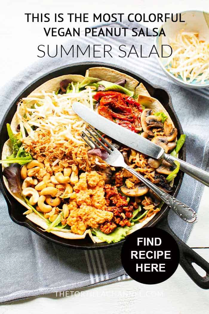Vegan peanut salsa summer salad with some Asian flavors. Want to make this recipe visit thetortillachannel.com. #asiansalad #vegansalad #summersalad #peanutsalsa#salad