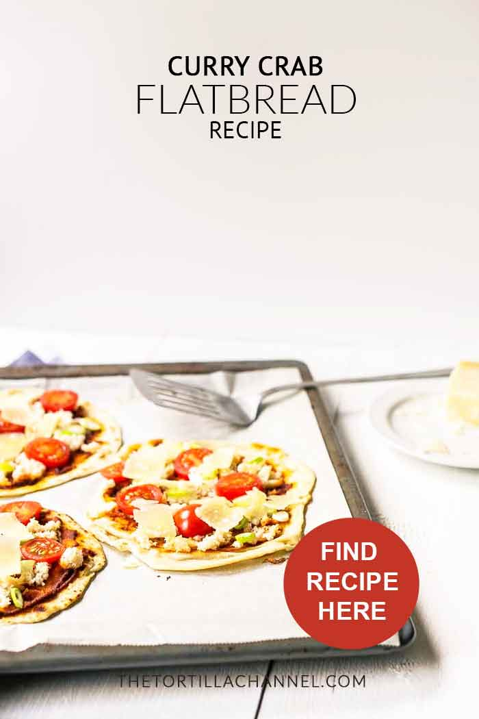 Fast curry crab flatbread is great dinner or lunch option easy to make with flatbread, curry paste, crab meat, scallion and parmesan. Make this recipe visit thetortillachannel.com #flatbread #currycrabflatbread #crabflatbreadpizza #flatbreadpizza #dinnerrecipe