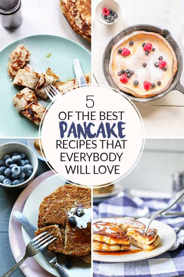 5 of the best pancakes recipes with vegan pancakes, gluten-free pancakes, fluffy pancakes or Dutch pancakes. Want to make visit thetortillachannel.com #pancakes #veganpancakes #glutenfreepancakes #coconutpancakes #thebestpancakes