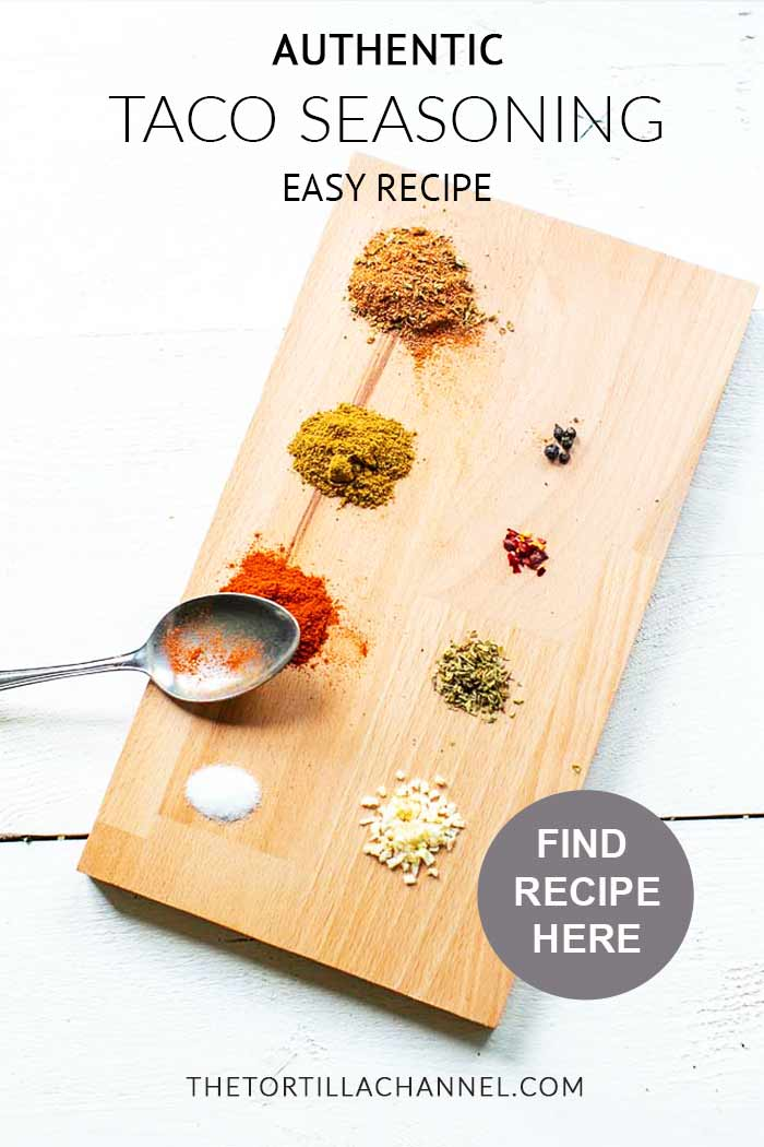 Easy authentic taco seasoning shows you how to make home made taco seasoning mix. Spices up your taco recipes and dinners. Easy to make taco mix recipe. Visit thetortillachannel.com for the full recipe. #tacoseasoning #tacomix #homemadetacomix #tacomixrecipe