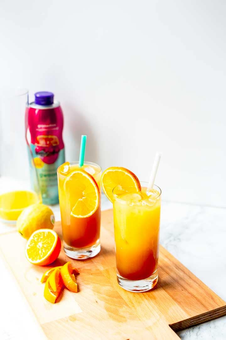 The easiest tequila sunrise is a great cocktail with orange juice, tequila and geradine syrup. Want to make this recipe visit thetortillachannel.com #tequila #cocktail #tequilacocktail #tequilasunrise #tequilarecipe #howtomaketequilasunrise