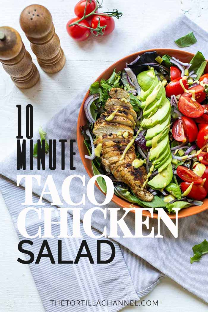 10 minute taco chicken salad is a low carb salad recipe. Fits in a Keto diet and is easy to make. Video included. Visit thetortillachannel.com for the full recipe #lowcarbsalad #tacochickensalad #chickensalad #ketosalad #dinnersalad