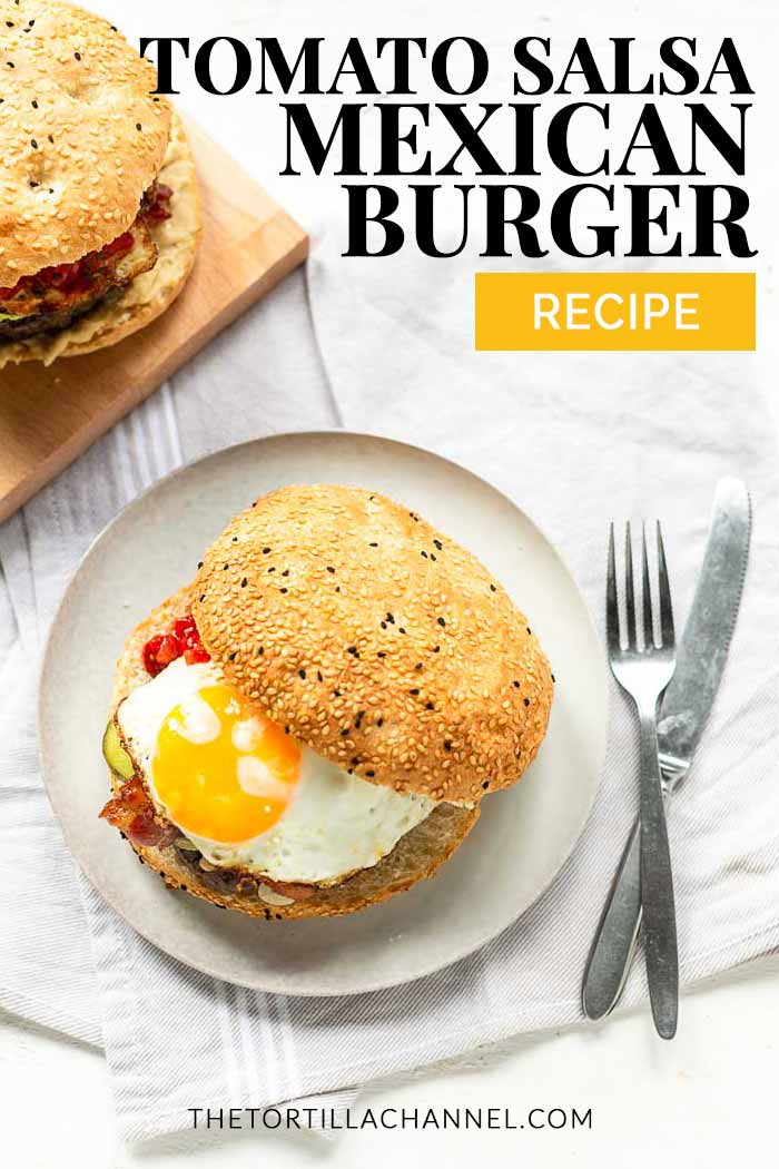 This Mexican burger is a great dinner or lunch recipe. The best ground beef and taco seasoning. Want a different type of hamburger try this one. #thetortillachannel #mexicanburger #thebestburger #hamburger #americanburger #loadedburger