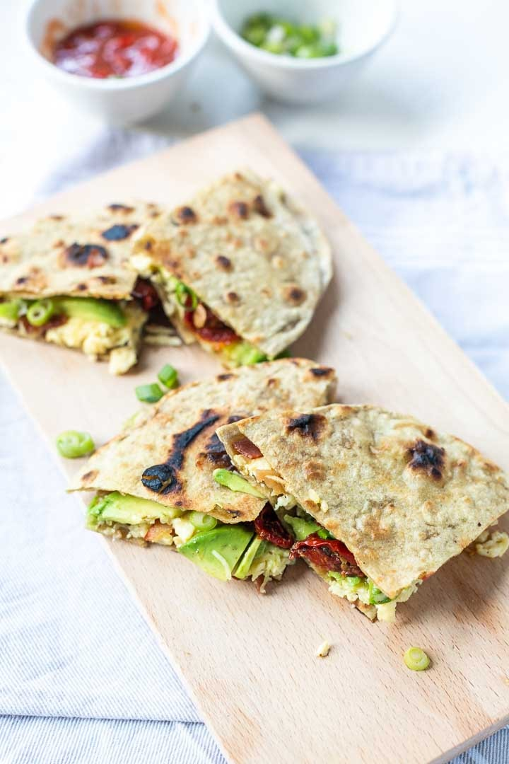 The best breakfast quesadillas are made with bacon and eggs. A delicious breakfast or lunch recipe. #breakfastquesadillas #easyrecipe #quesadillas #baconeggsquesadillas #thetortillachannel