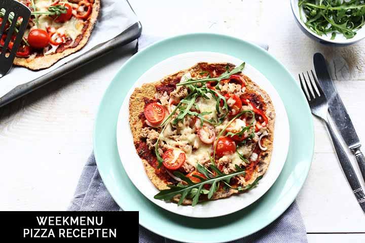 Week menu pizza met allemaal lekker pizza hoofdgerechten of pizza snacks. #thetortillachannel #pizzarecipe #fastpizzarecipes #veganpizza #shrimppizzarecipes