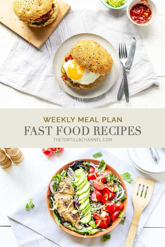 This week 7 dinner options that can be made within half an hour. This is the ultimate fast food weekly meal plan #thetortillachannel #fastfood #fastfoodpizza #fastfoodmexicanburger #chickensalad #pancakes