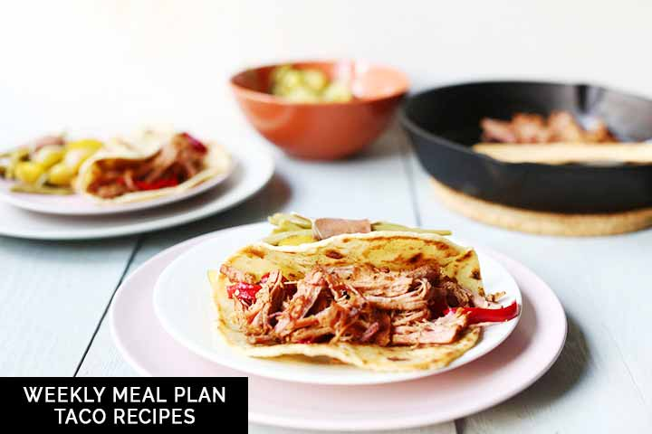 Weekly meal plan taco recipes because it is taco week on the Tortillachannel. With meat, pork, fish, chicken and vegan taco recipes #thetortillachannel #tacorecipes #meattacos #fishtaco #porktaco #chickentaco