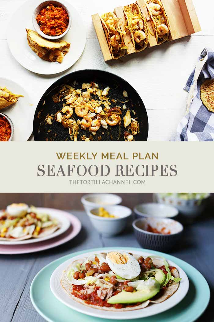 This weeks weekly meal plan is all seafood recipes for lunch and dinner. #thetortillachannel #weeklymealplan #fishrecipes #seafoodrecipes #seafoodmealplan