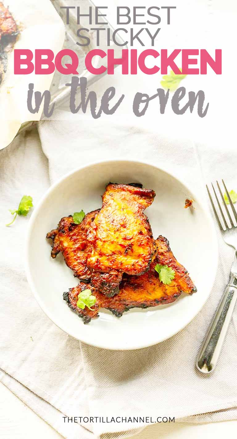 The best sticky BBQ chicken in the oven is easy, hands free cooking without the hassle. Want BBQ all year round try this recipe. #thetortillachannel #BBQchicken #BBQchickenrecipe #BBQchickenintheoven #easyBBQchicken
