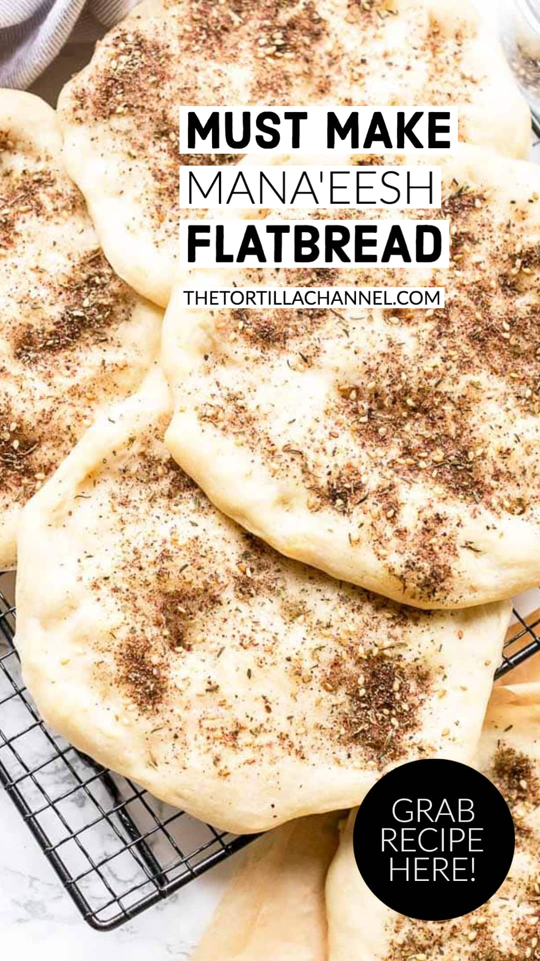 Mana'eesh Lebanese flatbread is a great Middle Eastern flatbread recipe. It is like a Middle Eastern pizza recipe. Decorate with cheese, ground beef or za'atar seasoning. Visit thetortillachannel.com for the full recipe #thetortillachannel #manaeeshflatbread #lebaneseflatbread #flatbread