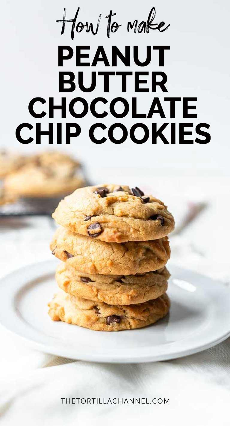 The best Peanut butter chocolate chip cookies in the World. This recipe is easy to make and so delicious. Soft, creamy cookies a real treat. #thetortillachannel #chocolatechipcookie #peanutbutterchocolatechipcookie #peanutcookie #chocolatecookie #softcookie #chocolatecookie