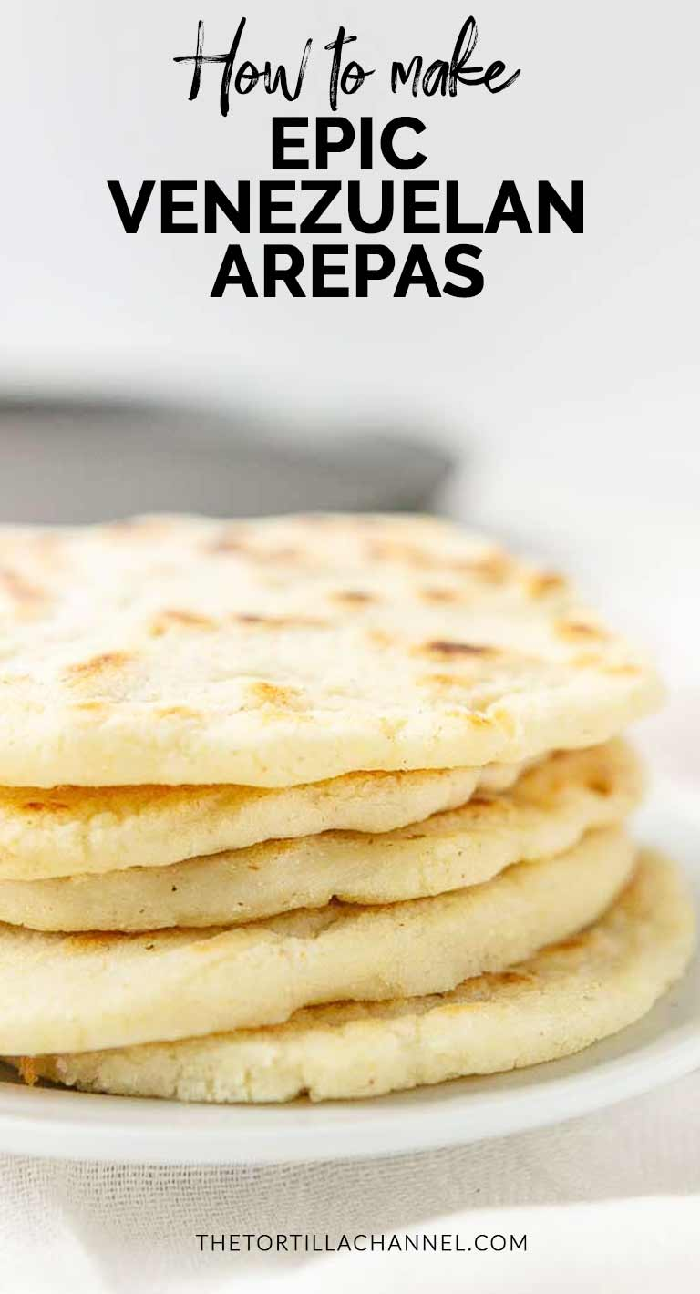 How to make Venezuelan arepas. A great lunch or dinner recipe made with corn flour and baked on a skillet. Easy to make and real tasty. Visit thetortillachannel.com for the full recipe and video. #thetortillachannel #arepas #venezuelanarepas #arepasrecipe #easyarepas #tastyarepas