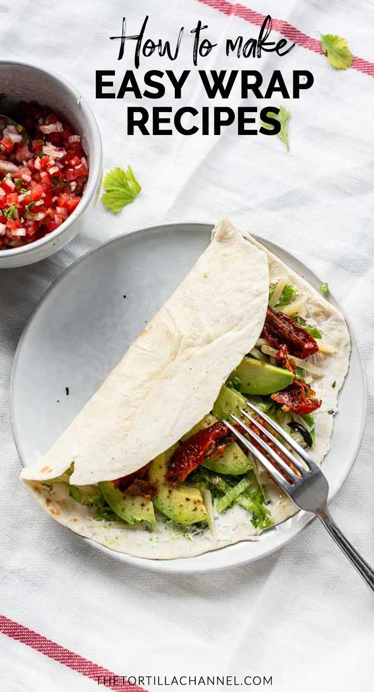 How to make easy wrap recipe with vegetables and cream cheese. Great lunch or dinner option. Wrap the tortilla and you can put it in your lunch box. Visit thetortillachannel.com for the full recipe #thetortillachannel #easywraprecipes #wraprecipe #lunchwrap #dinnerwrap