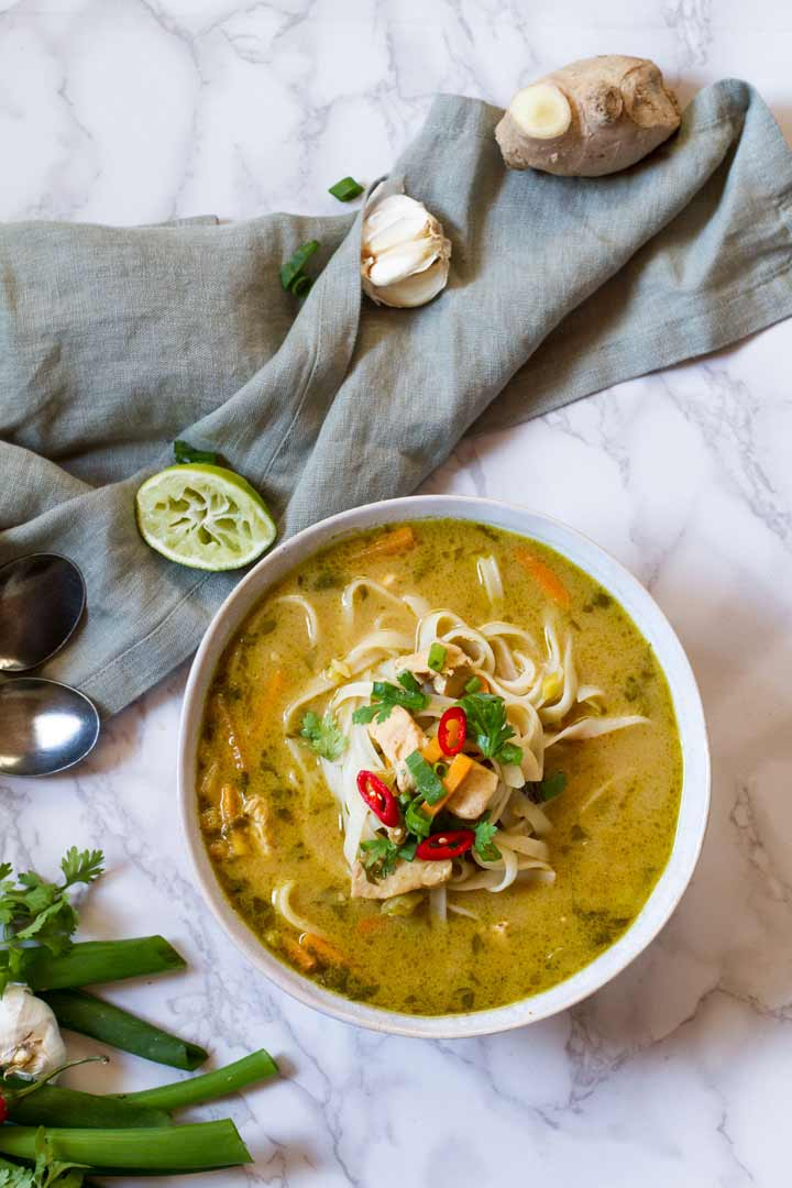 Thai chicken noodle soup made by Gingerwithspice.com a delicious spicy soup to warm you up when it is cold outside.