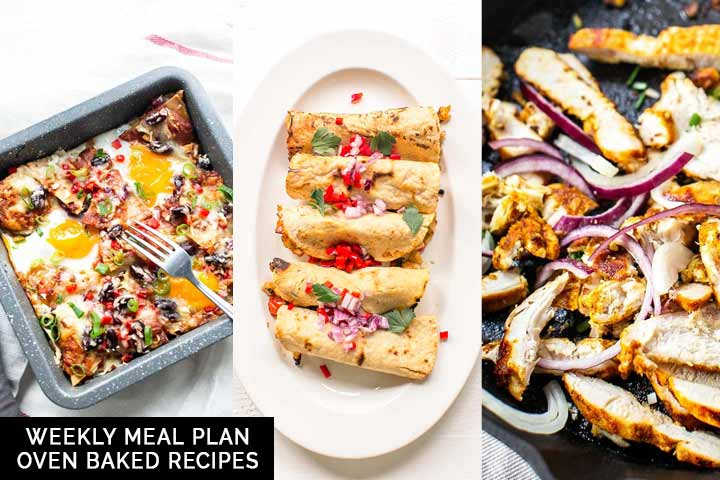 Weekly meal plan with oven baked recipes from oven baked taquitos, to sticky chicken bbq, shawarma or chilaquiles. Visit thetortillachannel.com for the full recipes #thetortillachannel #weeklymealplan #ovenbakedrecipes #mealplanning #ovenbakedweeklymealplan
