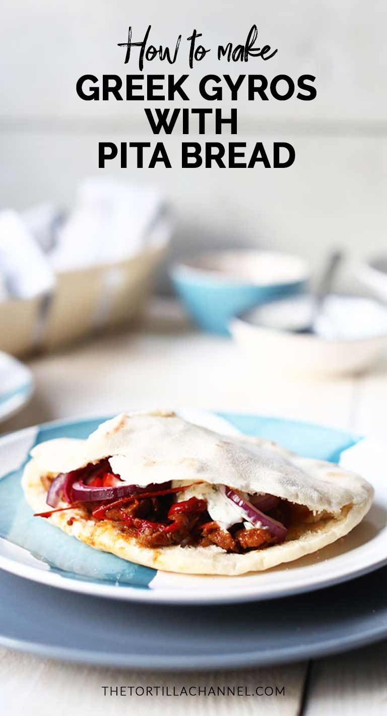 Greek gyros with pita bread and tzatziki is a great dinner recipe you can make at home. Visit thetortillachannel.com for the full recipe and video. #thetortillachannel #greekgyros #gyrosrecipe #gyroswithpita #gyrospitatzatziki