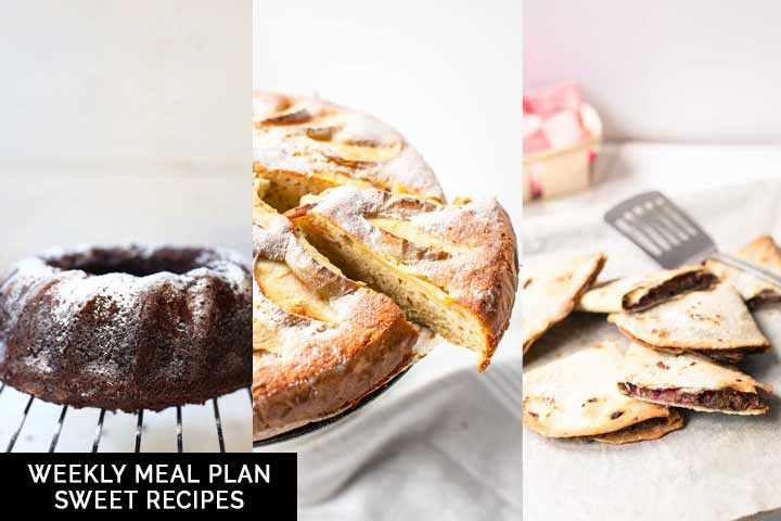 Looking for a sweet meal plan? Take a look at this weekly meal plan sweet recipe. Filled with all of your favorite recipes. Visit the Tortilla Channel #thetortillachannel #sweetrecipes #weeklymealplan #mealplan #dessert #snack #lunch #brunchrecipes