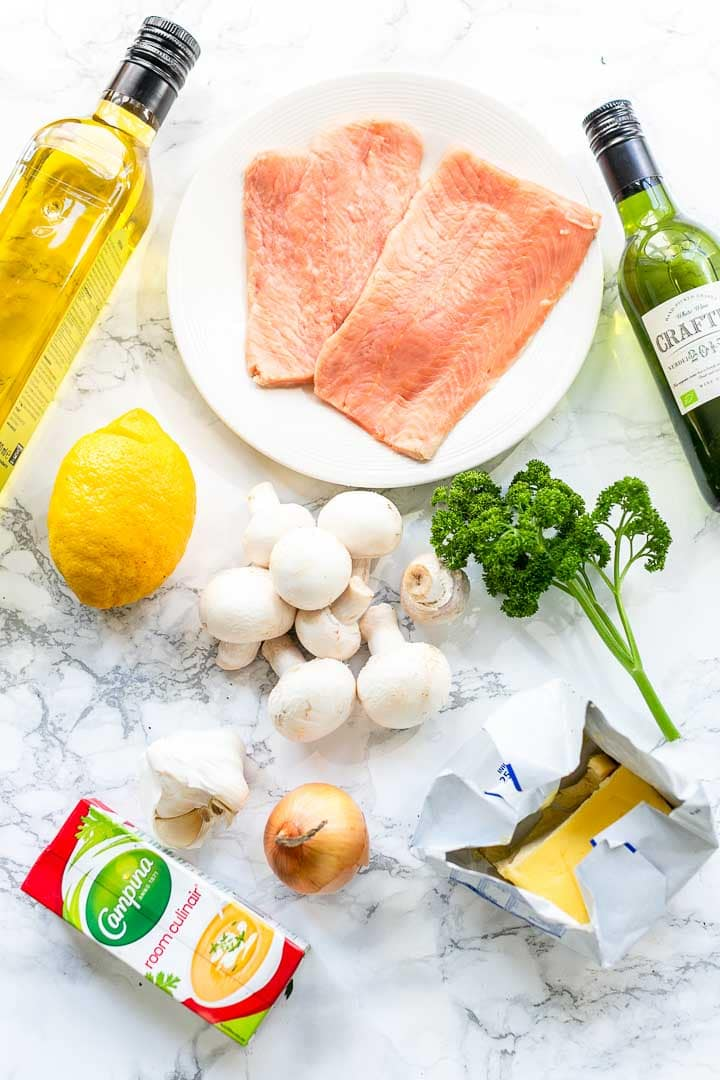 Looking for a easy salmon recipe? Take a look at this creamy garlic salmon dinner recipe. Made with wild salmon and baked in a skillet. Visit thetortillachannel.com for the full recipe. #thetortillachannel #salmon #salmonrecipe #wildsalmon #creamygarlicsalmon #garlicsalmon