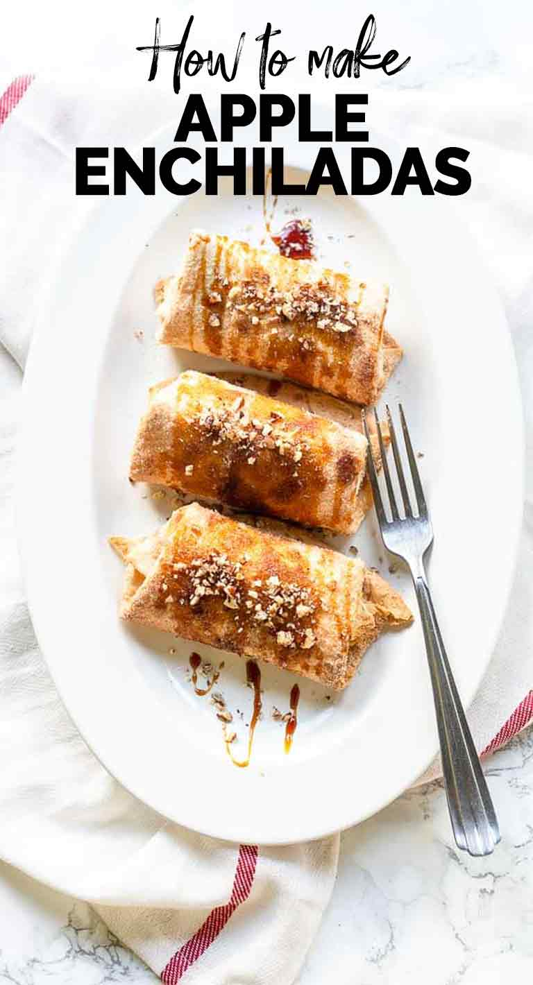 Apple enchiladas is a great sweet tortilla dessert. Made with regular flour tortillas a sweet sugar mix. Add some apple pie filling and you are ready. Visit thetortillachannel.com for the full recipe #thetortillachannel #tortilladessert #appleenchildas #appledessert #sweetenchiladas
