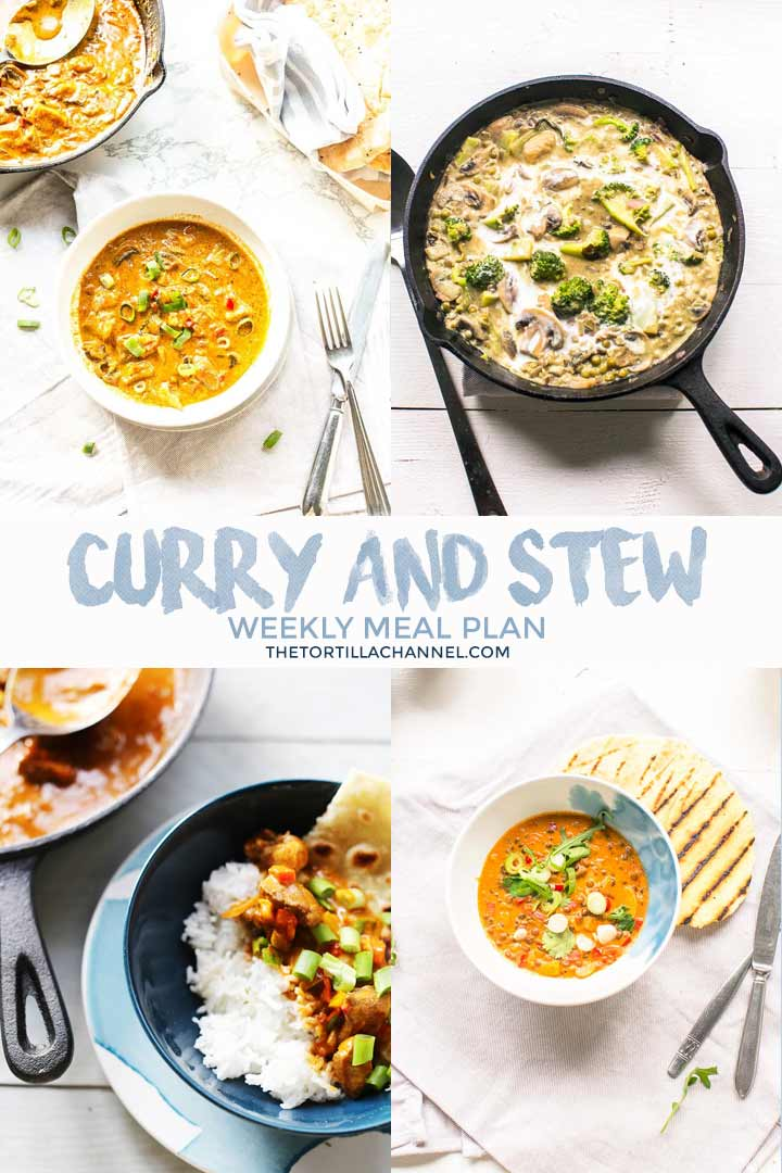 Weekly meal plan curry and stew is a collection of delicious dinner recipes. Eat with tortilla, flatbread, roti or naan bread. Visit thetortillachannel.com for the full recipe. #thetortillachannel #weeklymealplan #mealplan #mealprep #curryrecipes #weeklymealplancurry