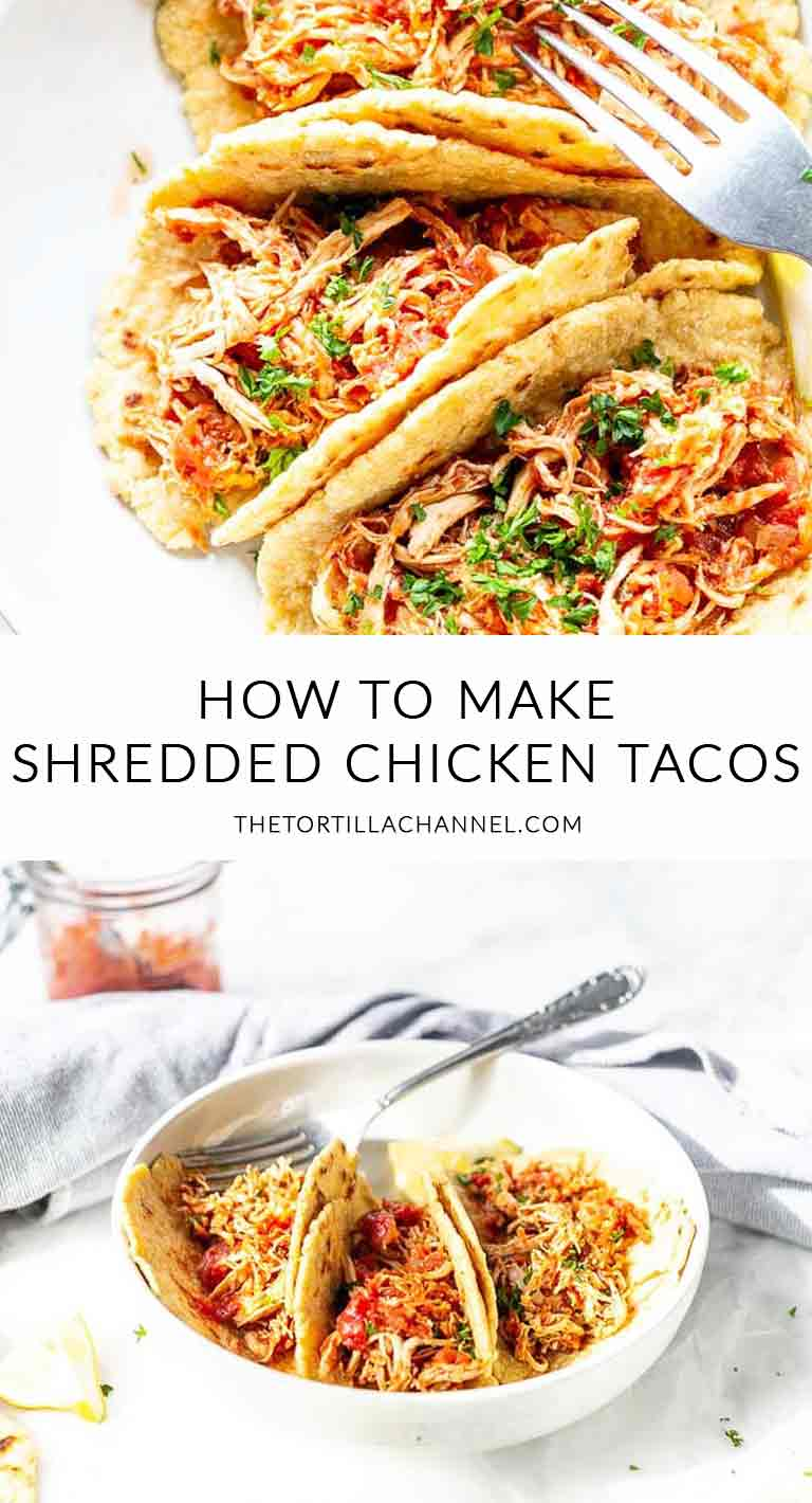 Looking for the best shredded chicken tacos? Take a look at this recipe. In the pressure cooker, slow cooker and oven. Prep done in less than 5 minutes!