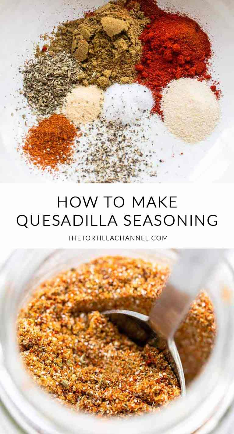 Looking for an easy but tasty quesadilla seasoning? Take a look at this quesadilla seasoning. Easy to make, tasty and super cheap. Visit thetortillachannel.com for the full recipe and video #thetortillachannel #seasoning #quesadillaseasoning #spicemix #seasoningrecipe