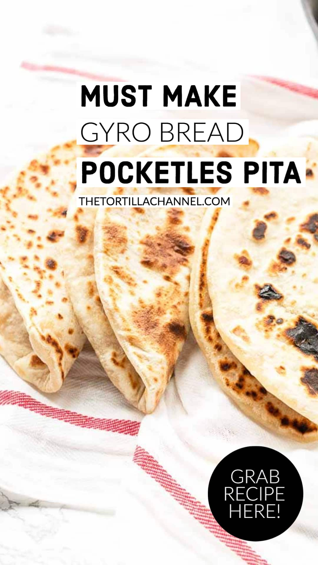 Make no yeast gyro bread a great pocketless Greek flatbread that you can eat with your favorite meats, fish or as bread. Easy to make and so tasty. Visit thetortillachannel.com for the full recipe #thetortillachannel #gyrobread #pitabread #pocketlesgreekflatbread