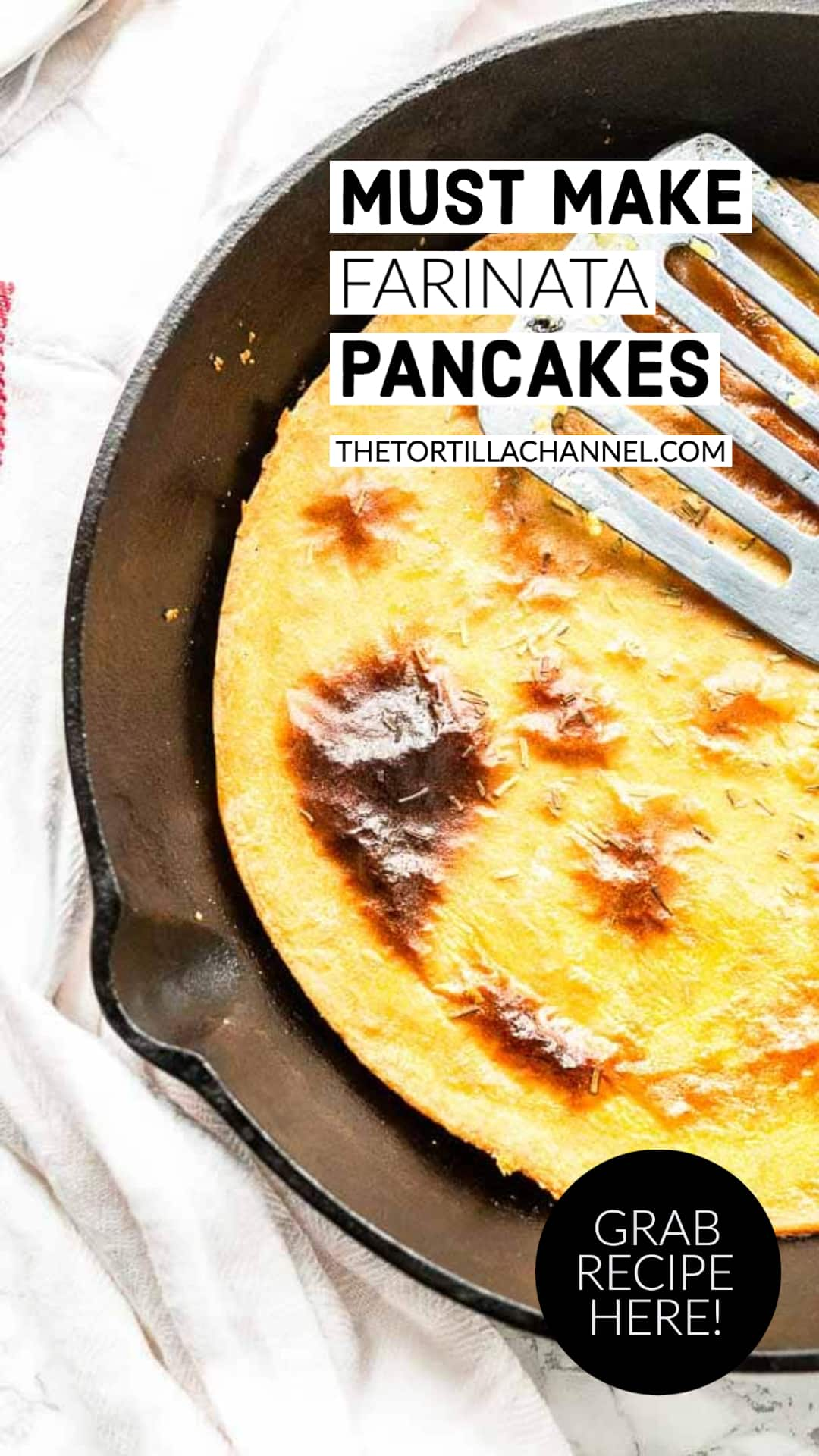 The best Italian chickpea pancake is this farinata recipe. It is gluten free, vegan with a nutty flavor. Great to eat as a snack or side dish. Want to try visit thetortillachannel.com #thetortillachannel #farinata #chickpeapancake #Italianchickpeapancake #pancake