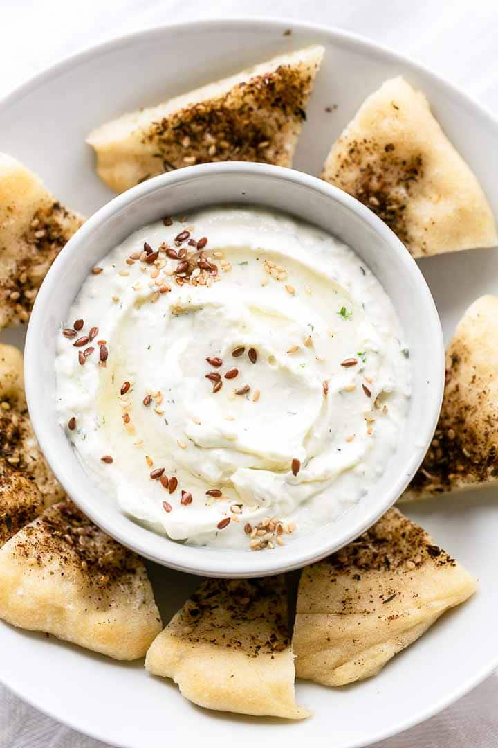 Tyrosalata is a Greek whipped feta dip. It is a great dip that you can serve with bread, crackers but also with raw vegetables. Try it! Visit thetortillachannel.com for the full recipe #thetortillachannel #tyrosalata #whippedfetadip #fetadip #fetacheesedip #dip